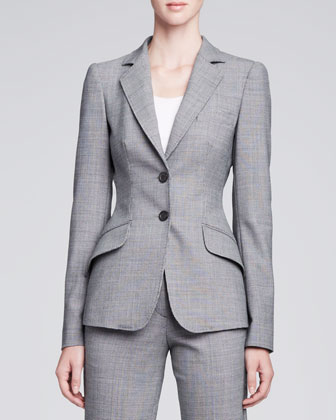 Classic Check Two-Button Jacket, Gray