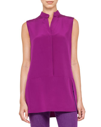 Leather-Collar Cashmere Jacket, Sleeveless Mock-Neck Tunic & Slim Stretch ...