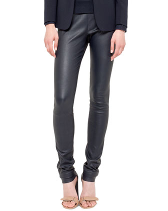 Stretch Leather Skinny Pants