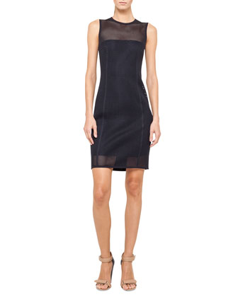 Sleeveless Mesh Sheath Dress, Navy