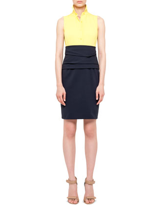 Sleeveless Colorblock Cummerbund Dress