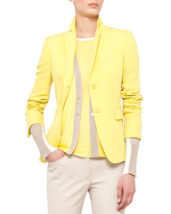Fitted Techno-Wool Blazer, Colorblock V-Neck Cardigan and Split-Hem Tank & ...