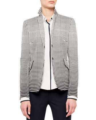 Dotted Snap Blazer, Contrast-Piping Shirt & Boot-Cut Wool Pants