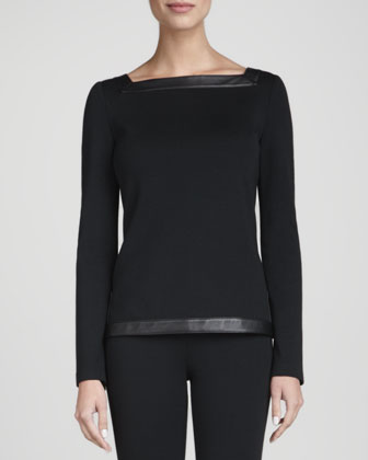 Square-Neck Top, Caviar