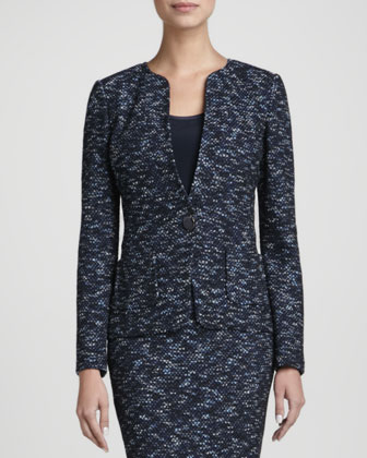Mid Button Jacket, Navy/Multi