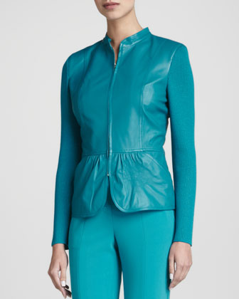 Leather Peplum Zip Jacket, Teal