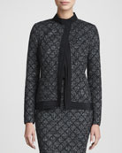 Long-Sleeve Patterned Jacket, Caviar/Multi