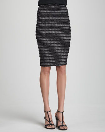 Metallic Ribbed Pencil Skirt