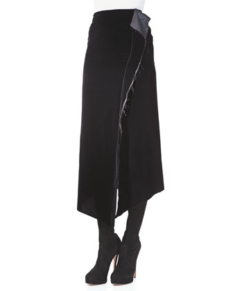 Velvet Asymmetric-Slit Skirt