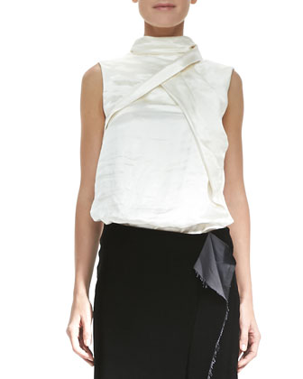 Sleeveless Fold-Detail High-Neck Top