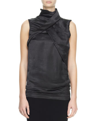 Sleeveless High-Neck Fold Top