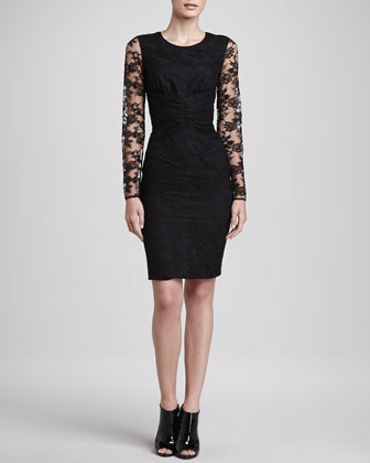 Ruched Waist Lace Dress, Black