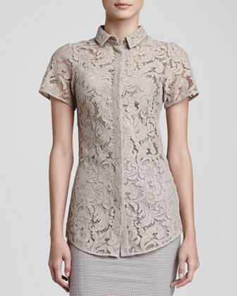 Lace Silk-Underlay Button Blouse