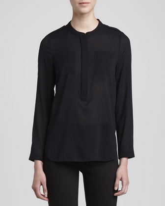 Long-Sleeve Chiffon Pocket Blouse