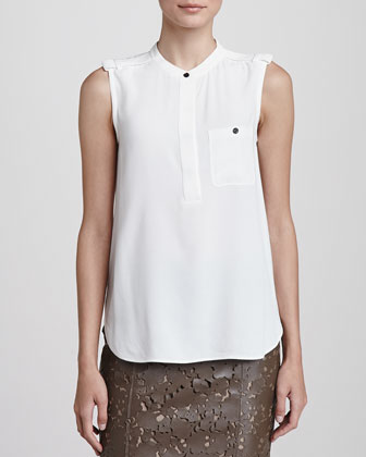 Sleeveless Crepe Blouse with Pocket