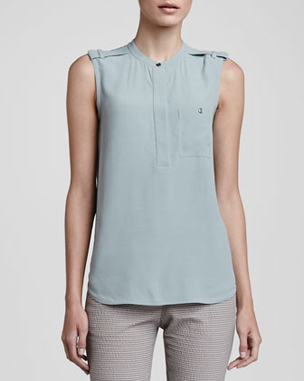 Sleeveless Epaulet Blouse, Pale Fling Blue
