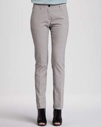 Seersucker Straight-Leg Trousers