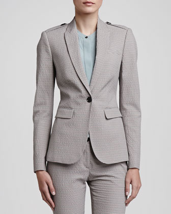 Seersucker One-Button Blazer