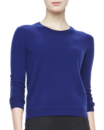 Pullover Sweater with Elbow Patches, Sapphire