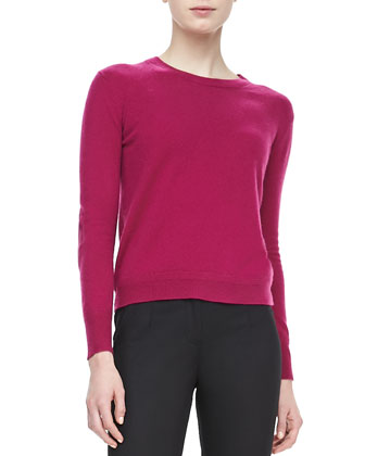 Cashmere Sweater with Elbow Patches, Magenta
