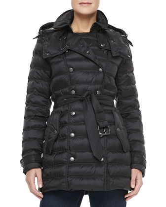 Double-Breasted Snap-Button Coat, Black