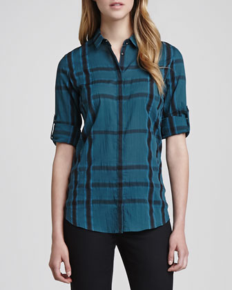Long-Sleeve Gauze Check Shirt, Dark Teal