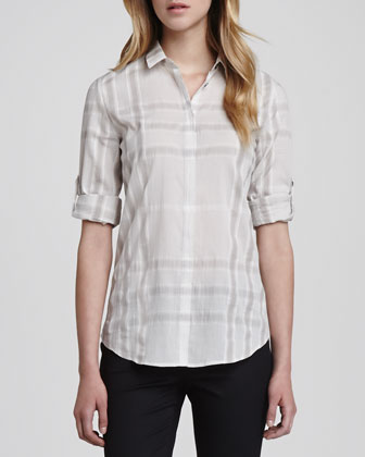 Long-Sleeve Gauze Check Shirt, Trench