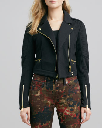 Cropped Knit Moto Jacket and Floral-Camo Skinny Jeans