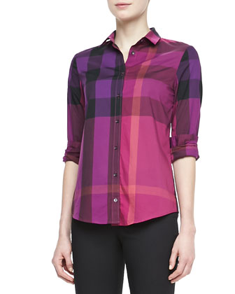 Check Bracelet-Sleeve Shirt, Bright Magenta
