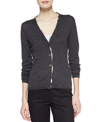Check-Trim Wool Cardigan, Gray Melange