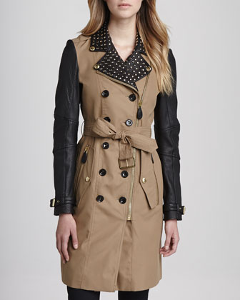 Stud-Collar Leather-Sleeve Trenchcoat