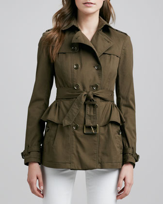 Belted Peplum Trench Jacket