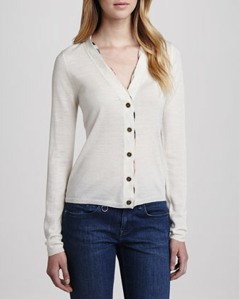 V-Neck Buttoned Cardigan, Natural White
