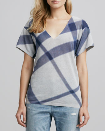 Short-Sleeve Check Sweater