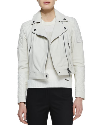 Grained Lambskin Leather Jacket, White