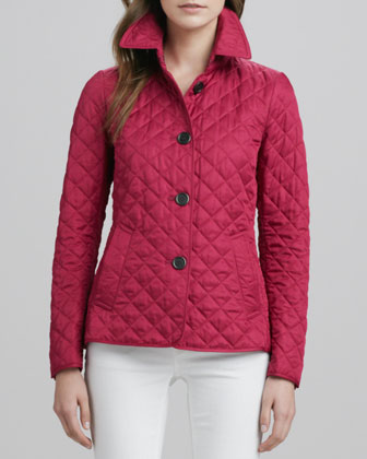 Quilted Band-Back Jacket and Skinny Straight-Leg Jeans