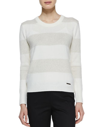 Shimmery Striped Cashmere Sweater, Natural/White