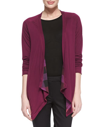 Reversible Check-Solid Waterfall Cardigan, Cerise Purple