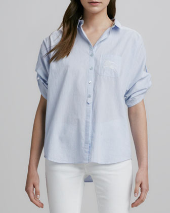 Short-Sleeve Woven Cotton-Linen Shirt