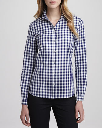 Suede Cinched-Waist Jacket and Gingham Button-Down Shirt