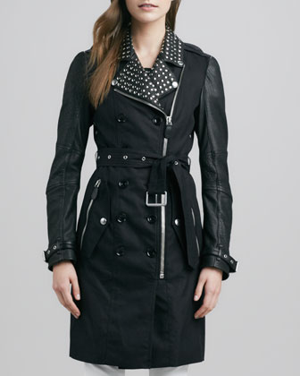 Studded Leather-Sleeve Trenchcoat
