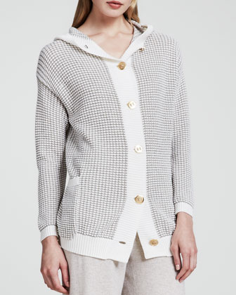 Basket-Knit Cardigan, Natural