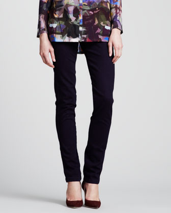 Five-Pocket Denim Leggings, Dark Blue