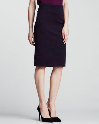 Spark Scuba Pencil Skirt, Purple