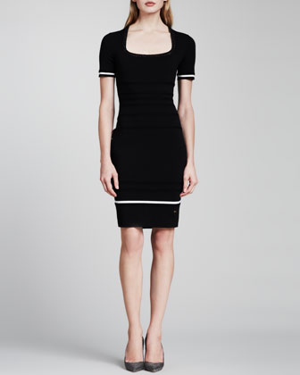 Short-Sleeve Knit Dress, Black