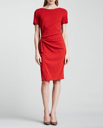 Ruched Ruffle-Side Dress, Orange-Red