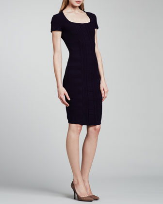 Cap-Sleeve Scuba Knit Dress, Dark Blue