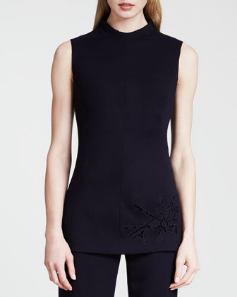 Sleeveless Spark-Embroidered Tunic, Dark Blue