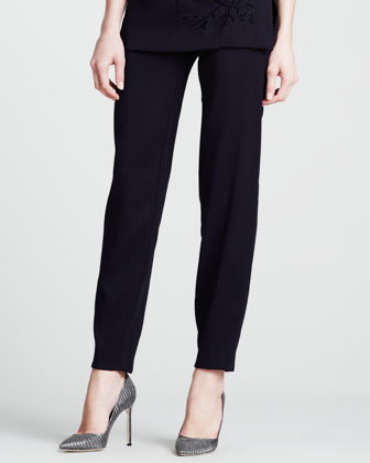 Wool Stretch Ankle Pants, Blue