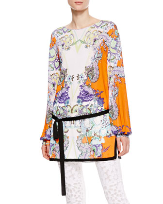 Boat-Neck Floral Tunic, Orange/Violet